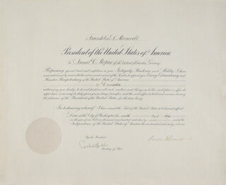 PRESIDENT FRANKLIN D. ROOSEVELT - CIVIL APPOINTMENT SIGNED 05/09/1939 CO-SIGNED BY: CORDELL HULL