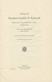 PRESIDENT FRANKLIN D. ROOSEVELT - SPEECH UNSIGNED 04/13/1936