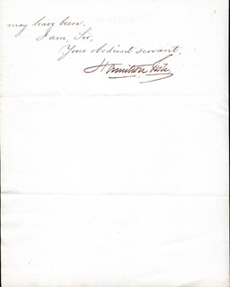 HAMILTON FISH - MANUSCRIPT LETTER SIGNED 03/25/1874