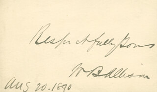 Autographs: WILLIAM B. ALLISON - AUTOGRAPH SENTIMENT SIGNED 08/20/1890