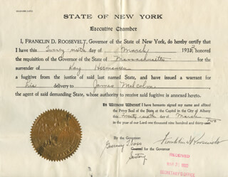 PRESIDENT FRANKLIN D. ROOSEVELT - DOCUMENT SIGNED 03/26/1932 CO-SIGNED BY: GUERNSEY T. CROSS