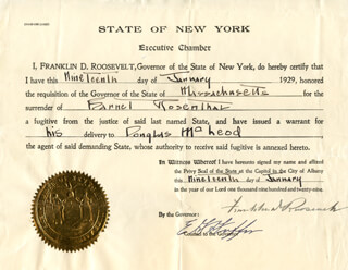 PRESIDENT FRANKLIN D. ROOSEVELT - DOCUMENT SIGNED 01/19/1929