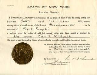PRESIDENT FRANKLIN D. ROOSEVELT - DOCUMENT SIGNED 12/09/1929 CO-SIGNED BY: SAMUEL ROSENMAN