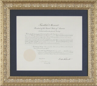PRESIDENT FRANKLIN D. ROOSEVELT - CIVIL APPOINTMENT SIGNED 01/26/1936 CO-SIGNED BY: CORDELL HULL