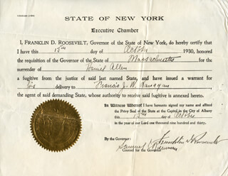 PRESIDENT FRANKLIN D. ROOSEVELT - DOCUMENT SIGNED 10/15/1930 CO-SIGNED BY: SAMUEL ROSENMAN