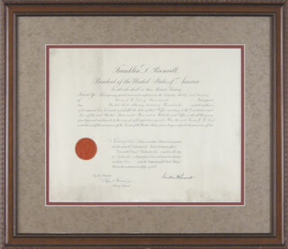 PRESIDENT FRANKLIN D. ROOSEVELT - CIVIL APPOINTMENT SIGNED 09/18/1933 CO-SIGNED BY: HOMER S. CUMMINGS