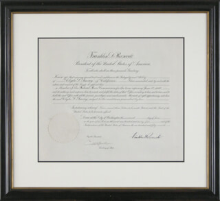 PRESIDENT FRANKLIN D. ROOSEVELT - CIVIL APPOINTMENT SIGNED 06/19/1936 CO-SIGNED BY: CORDELL HULL