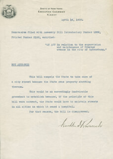 PRESIDENT FRANKLIN D. ROOSEVELT - DOCUMENT SIGNED 04/14/1930