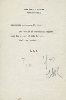 PRESIDENT FRANKLIN D. ROOSEVELT - AUTOGRAPH ENDORSEMENT SIGNED 01/17/1942 CO-SIGNED BY: RUDOLPH FORSTER