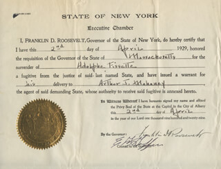 PRESIDENT FRANKLIN D. ROOSEVELT - DOCUMENT SIGNED 04/02/1929 CO-SIGNED BY: EDWARD G GRIFFIN