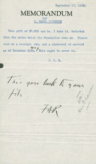 PRESIDENT FRANKLIN D. ROOSEVELT - ANNOTATED TYPED MEMO SIGNED 09/17/1929