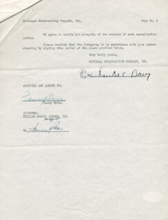 FANNY BRICE - DOCUMENT SIGNED 02/23/1951