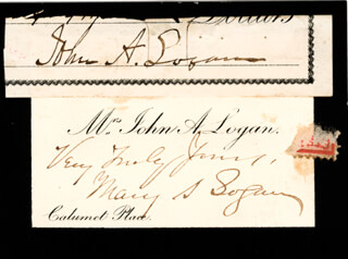 MAJOR GENERAL JOHN A. LOGAN - CLIPPED SIGNATURE CO-SIGNED BY: MARY LOGAN