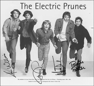 ELECTRIC PRUNES - BOOK PHOTOGRAPH SIGNED CO-SIGNED BY: ELECTRIC PRUNES (JAMES LOWE), ELECTRIC PRUNES (MARK TULIN), ELECTRIC PRUNES (KEN WILLIAMS), ELECTRIC PRUNES (PRESTON RITTER)