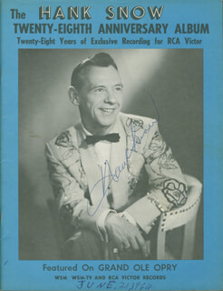HANK SINGING RANGER SNOW - PROGRAM SIGNED CIRCA 1964