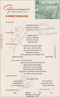 JAMES J. CINDERELLA MAN BRADDOCK - INSCRIBED MENU SIGNED CIRCA 1959 CO-SIGNED BY: JOE JERSEY JOE WALCOTT, GUS LESNEVICH
