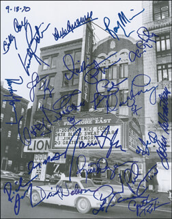 FILLMORE EAST - AUTOGRAPHED SIGNED PHOTOGRAPH CO-SIGNED BY: DAVID NELSON, LES PAUL, JEFFERSON AIRPLANE (MARTY BALIN), JAMES TAYLOR, ARLO GUTHRIE, JOHN SEBASTIAN, JOSEPH COUNTRY JOE McDONALD, BLUE CHEER (DICKIE PETERSON), JOHN KAY, GARY DUNCAN, BILLY COX, RICHIE FURAY, DAVID LAFLAMME, DAVID FRIEBURG, TOM CONSTANTEN, SLY AND THE FAMILY STONE (CYNTHIA ROBINSON), SLY AND THE FAMILY STONE (JERRY MARTINI), RICK DERRINGER, POCO (PAUL COTTON), POCO (RUSTY YOUNG), RANDY MEISNER