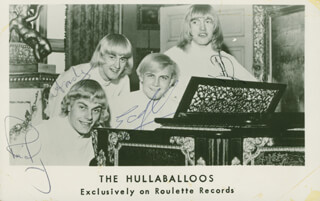 HULLABALLOOS - PICTURE POST CARD SIGNED CO-SIGNED BY: HULLABALLOOS (RICKY KNIGHT), HULLABALLOOS (ANDREW WOOTEN), HULLABALLOOS (HAROLD DUNN), HULLABALLOOS (GEOFFREY MORTIMER)
