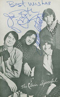 LOVIN' SPOONFUL - AUTOGRAPHED SIGNED PHOTOGRAPH CO-SIGNED BY: LOVIN' SPOONFUL (JOHN SEBASTIAN), LOVIN' SPOONFUL (JOE BUTLER), LOVIN' SPOONFUL (STEVE BOONE)