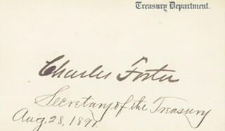 Autographs: CHARLES W. FOSTER - PRINTED CARD SIGNED IN INK 08/28/1891