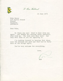 L. RON HUBBARD - TYPED LETTER SIGNED 07/13/1975