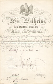 Autographs: KAISER WILHELM II (GERMANY) - CIVIL APPOINTMENT SIGNED 04/24/1891