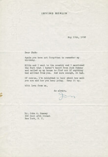 IRVING BERLIN - TYPED LETTER SIGNED 05/15/1958