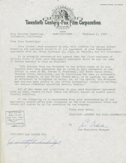 DOROTHY DANDRIDGE - DOCUMENT SIGNED 02/05/1959 CO-SIGNED BY: LEW SCHREIBER
