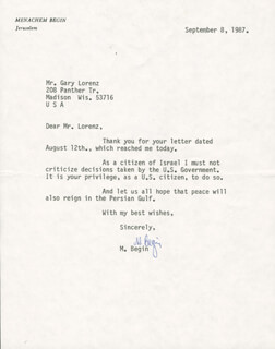 PRIME MINISTER MENACHEM BEGIN (ISRAEL) - TYPED LETTER SIGNED 09/08/1987