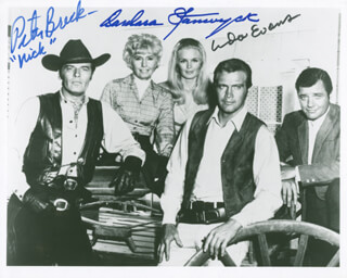 Autographs: THE BIG VALLEY TV CAST - PHOTOGRAPH SIGNED CO-SIGNED BY: PETER BRECK, BARBARA STANWYCK, LINDA EVANS