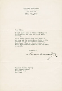 SAMUEL GOLDWYN - TYPED LETTER SIGNED 07/13/1938