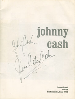JOHNNY CASH - PROGRAM SIGNED CO-SIGNED BY: JUNE CARTER CASH - HFSID 279542