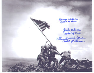 MAJOR GEORGE E. WAHLEN - AUTOGRAPHED SIGNED PHOTOGRAPH CO-SIGNED BY: HERSHEL W. WILLIAMS, CAPTAIN JACK H. LUCAS