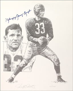 Autographs: SAMMY BAUGH - PRINTED ILLUSTRATION SIGNED IN INK