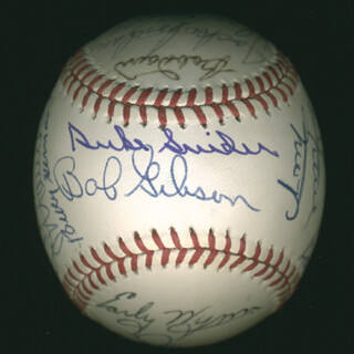 HALL OF FAME BASEBALL - AUTOGRAPHED SIGNED BASEBALL CO-SIGNED BY: JOCKO CONLAN, JUAN MARICHAL, BOB GIBSON, LUIS APARICIO, BOB FELLER, WHITEY FORD, MIKE SCHMIDT, LOU BROCK, BOB LEMON, BOBBY DOERR, BILLY HERMAN, DON DRYSDALE, EARLY WYNN, WILLIE SAY HEY KID MAYS, ROBIN ROBERTS, MONTE IRVIN, JOE SEWELL, DUKE SNIDER
