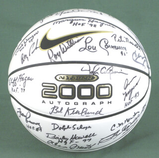 Autographs: HALL OF FAME BASKETBALL - BASKETBALL SIGNED CO-SIGNED BY: DAVID THOMPSON, CHUCK DALY, BOB PETTIT, WILLIS REED, FRANK RAMSEY, DEAN SMITH, BOB COUSY, BOB KURLAND, PAT RILEY, BILL WALTON, DOLPH SCHAYES, ANN MEYERS, JACK RAMSAY, MARQUES HAYNES, BAILEY HOWELL, CLIFF HAGAN, HARRY GALLATIN, CHARLES MARTIN NEWTON, LOU CARNESECCA, BOB WANZER, LARRY BROWN, JOAN (BASKETBALL PLAYER) CRAWFORD, WAYNE EMBRY, PETE NEWELL, RAY MEYER, ARNIE RISEN, ULJANA SEMJONOVA, KAY YOW, MORGAN WOOTTEN, CLYDE LOVELLETTE, ROY WILLIAMS, FRED CURLY NEAL, JOHN CALIPARI