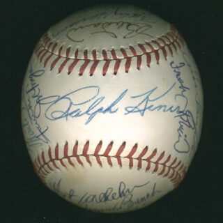 Autographs: HALL OF FAME BASEBALL - BASEBALL SIGNED CO-SIGNED BY: JOHNNY BENCH, GEORGE KELL, JUAN MARICHAL, BOB GIBSON, ERNIE MR. CUB BANKS, JOE LITTLE JOE MORGAN, JOHNNY MIZE, HOYT (JAMES) WILHELM, LOU BOUDREAU, FRANK ROBINSON, BOB LEMON, ENOS SLAUGHTER, BOBBY DOERR, BILLY HERMAN, BROOKS ROBINSON, RALPH KINER, PETE ROSE, EARLY WYNN, WILLIE SAY HEY KID MAYS, MONTE IRVIN, DUKE SNIDER