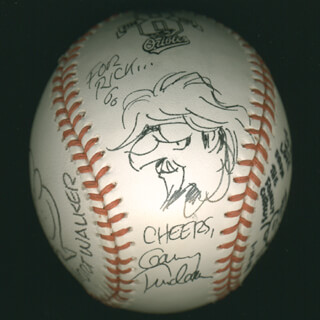 GARRY TRUDEAU - INSCRIBED BASEBALL SIGNED 01/14/2008 CO-SIGNED BY: MORT WALKER, BIL KEANE, TOM WILSON, BRAD ANDERSON
