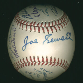 HALL OF FAME BASEBALL - AUTOGRAPHED SIGNED BASEBALL CO-SIGNED BY: LUKE APPLING, GEORGE KELL, RAY DANDRIDGE, JUDY JOHNSON, BOB FELLER, HOYT (JAMES) WILHELM, LOU BOUDREAU, FRANK ROBINSON, ENOS SLAUGHTER, BOBBY DOERR, RALPH KINER, AL MR. TIGER KALINE, EDDIE MATHEWS, ROBIN ROBERTS, JOE SEWELL