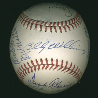 HALL OF FAME BASEBALL - AUTOGRAPHED SIGNED BASEBALL CO-SIGNED BY: LUKE APPLING, BILLY WILLIAMS, GEORGE KELL, ERNIE MR. CUB BANKS, JUDY JOHNSON, BOB FELLER, HOYT (JAMES) WILHELM, LOU BOUDREAU, FRANK ROBINSON, ENOS SLAUGHTER, BOBBY DOERR, RALPH KINER, AL MR. TIGER KALINE, ROBIN ROBERTS