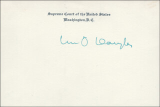 ASSOCIATE JUSTICE WILLIAM O. DOUGLAS - SUPREME COURT CARD SIGNED