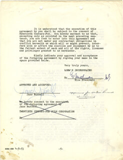 JANE RUSSELL - CONTRACT SIGNED 04/08/1953