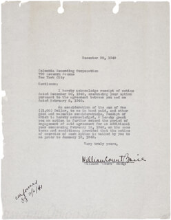 COUNT BASIE - TYPED LETTER SIGNED 12/20/1940