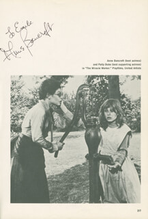 ANNE BANCROFT - INSCRIBED BOOK PHOTOGRAPH SIGNED