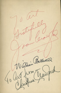 PAID MOVIE CAST - INSCRIBED BOOK SIGNED CO-SIGNED BY: CHRISTINA CRAWFORD, WILLIAM BAKEWELL, JOAN CRAWFORD