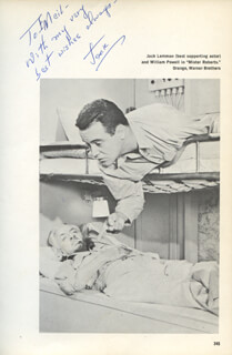 JACK LEMMON - INSCRIBED BOOK PHOTOGRAPH SIGNED