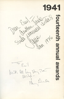 HENRY FONDA - INSCRIBED BOOK SIGNED 1/1976 CO-SIGNED BY: JANE FONDA