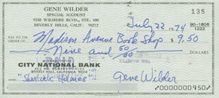 GENE WILDER - AUTOGRAPHED SIGNED CHECK 07/22/1974