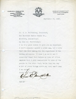 GOVERNOR CHARLES A. TEMPLETON - TYPED LETTER SIGNED 09/26/1923
