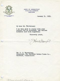 GOVERNOR JOHN H. TRUMBULL - TYPED LETTER SIGNED 01/31/1925